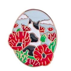 Jewelry - Cat with Red Poppies Enamel Pin Brooch
